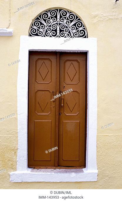 Dodecanese, Kalymnos Pothia, Evangelistria Church, door, detail