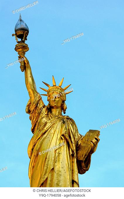 Gold Statue of Liberty at Saint-Cyr-sur-Mer France