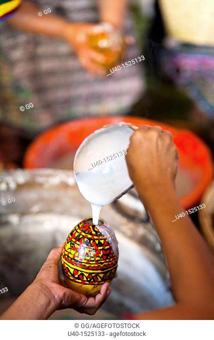 Guatemala, Rabinal, Rabinal achi celebration, Mayan women preparing typical drink