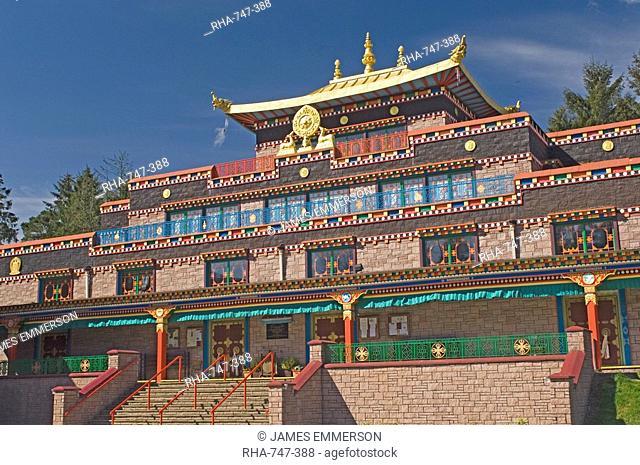 The Temple building, Kagyu Samye Ling Monastery and Tibetan Centre, Eskdalemuir, Dumfries and Galloway, Scotland, United Kingdom, Europe