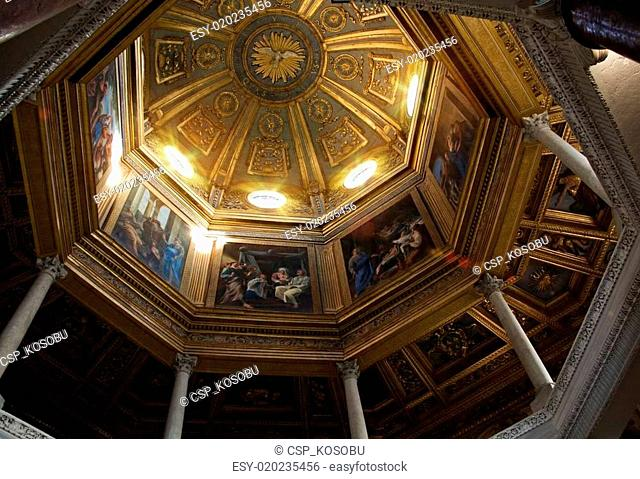 ROME, ITALY - APRIL, 19: Painted dome with biblical story in the
