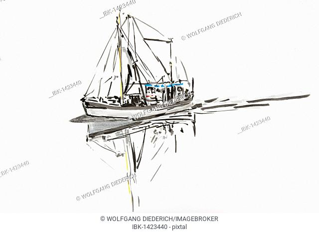 Shrimp boat on the North Sea, Schleswig Holstein, North Germany, drawing by artist Gerhard Kraus, Kriftel