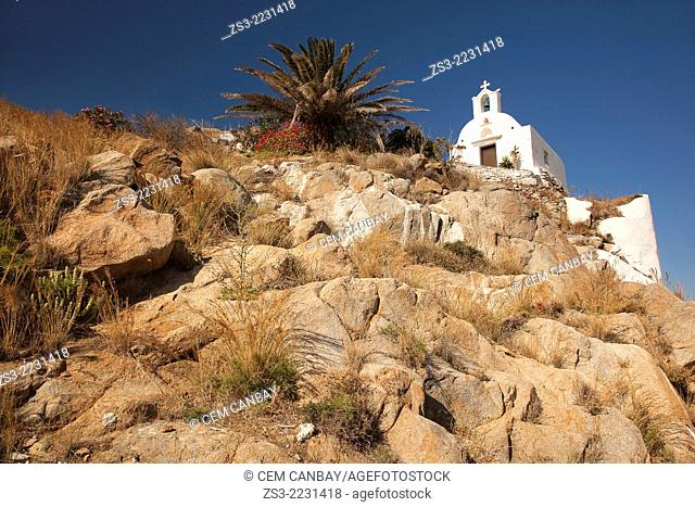 White chapel on the rocks In hora, Ios, Cyclades Islands, Greek Islands, Greece, Europe