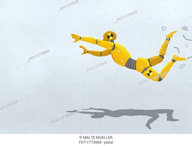 Crash test dummy flying