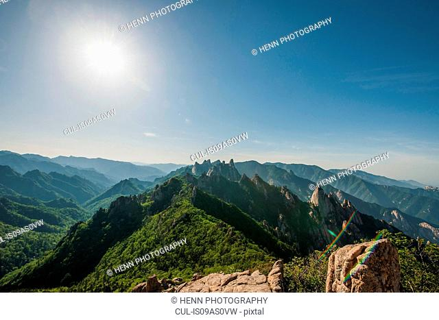 Elevated view of rugged mountain ridge, Seoraksan National park, Gangwon, South Korea
