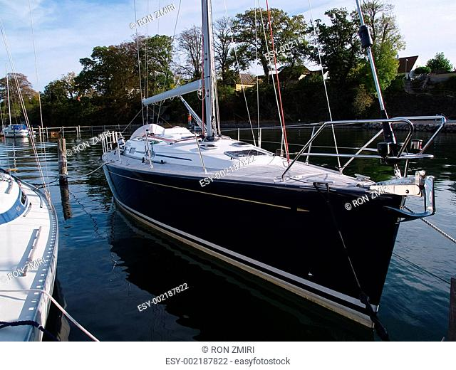 Beautiful modern sail yacht in frontal view