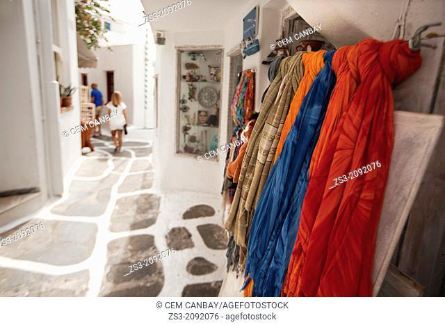 Shops in the alley of town, Mykonos, Cyclades Islands, Greek Islands, Greece, Europe