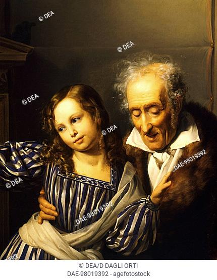 Old man pointing out Maria Luigia's herm to his granddaughter, ca 1830, by Giuseppe Molteni (1800-1867), oil on canvas, 99x130 cm
