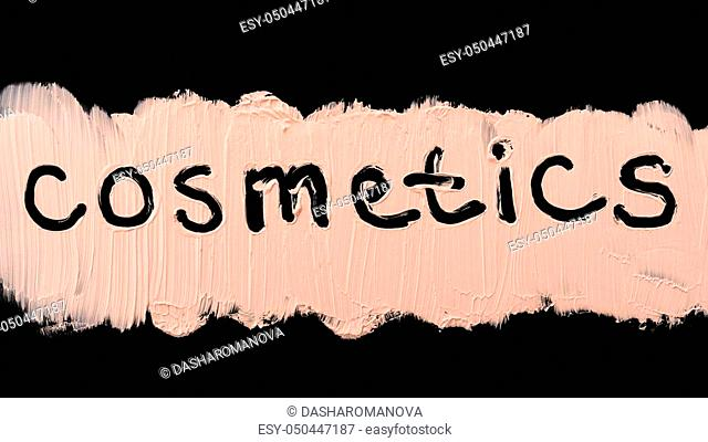Close up of a make up liquid cream foundation on black background. Cosmetics text