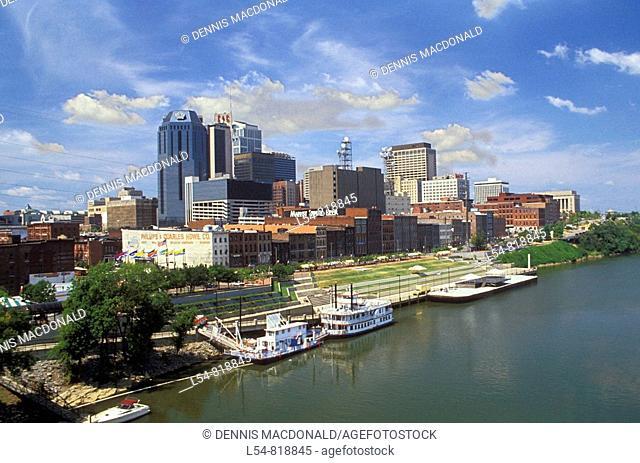 Skyline of Nashville Tennessee from Shelby Street Pedestrian Bridge US