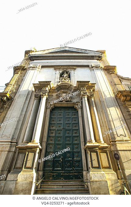 Old church San Giuseppe dei Teatini, Palermo, old city center, Sicily, Italy