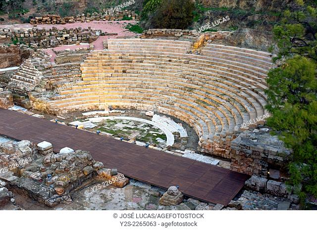 Roman theater - first century BC, Malaga, Region of Andalusia, Spain, Europe