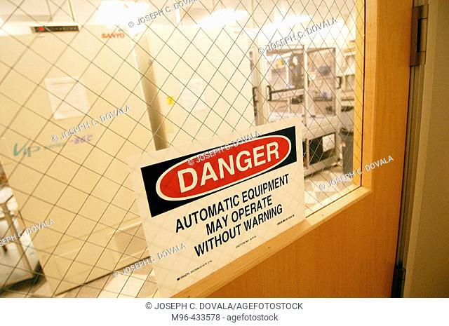 Danger auto equipment in laboratory