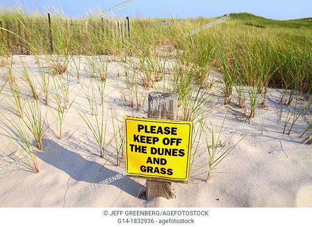 Massachusetts, Cape Cod, Nauset Beach, Cape Cod National Seashore, dune, grass, sign, keep off, sand