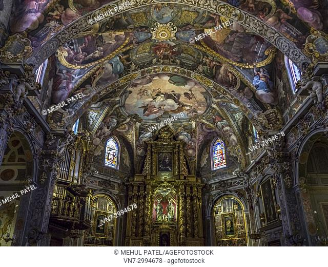 Colourful artwork and paintings inside the Church of San Nicolas (Parroquia de San Nicolas), Ciutat Vella, Valencia, Spain