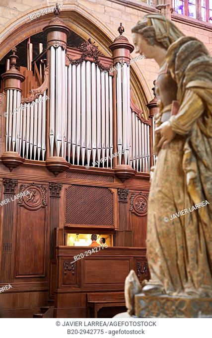 Organ, Cathedral Saint Cyr and Sainte Julitte, Nevers, Nievre, Bourgogne, France, Europe