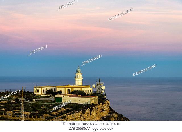 A cliff sight in Carboneras coast, Almería province, Spain