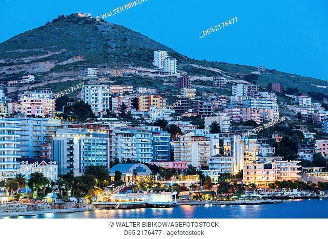 Albania, Albanian Riviera, Saranda, hotels along the Ionian Sea, dusk