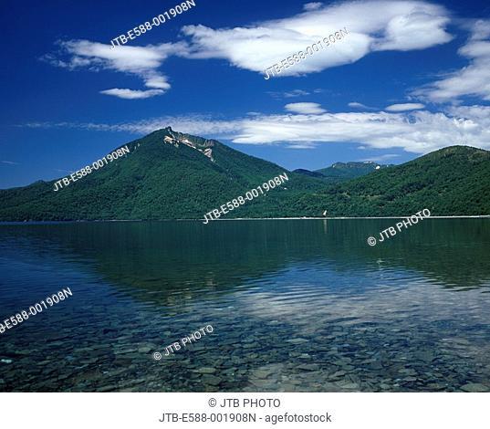 Blue sky Clouds Mountain Green Surface of a lake Lake Shikotsu Mt. Eniwa Chitose Hokkaido Japan