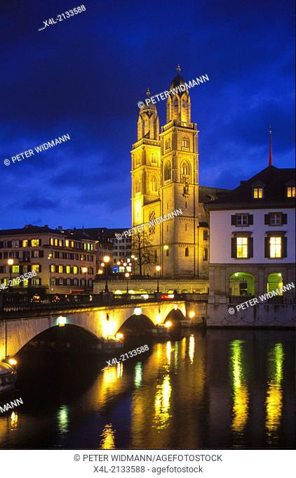 church Grossmünster, Switzerland, canton Zurich, Zurich