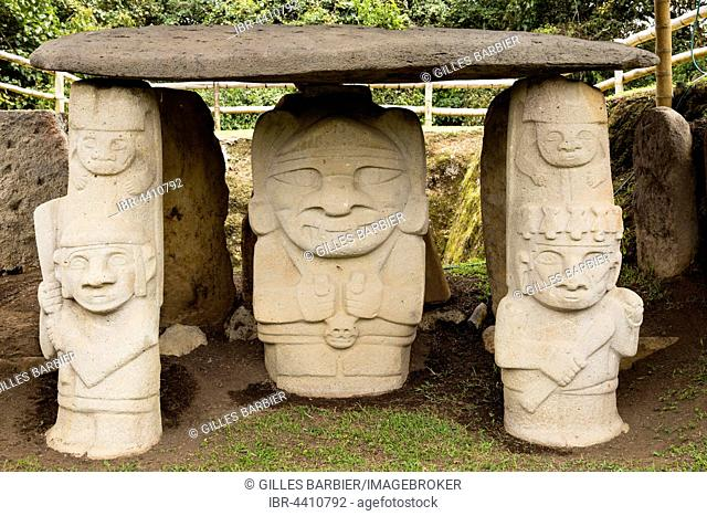 Pre-Colombian Funeral Sculptures of San Agustin, megaliths, Parque Archeologico, San Agustin, Huila, Colombia