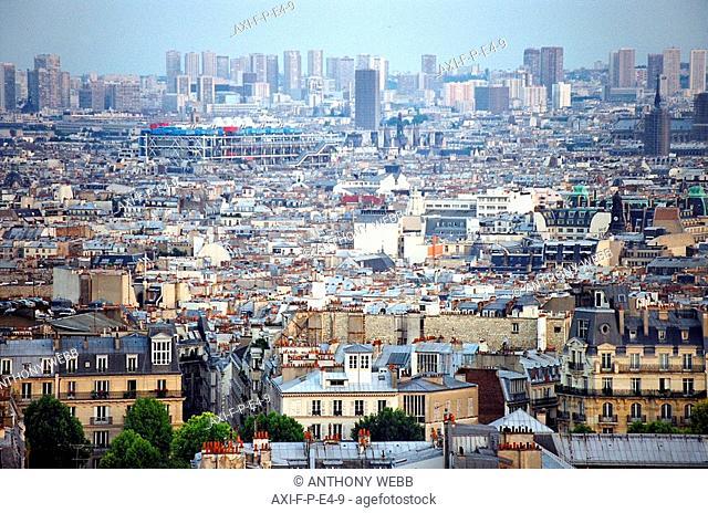 view from sacre cour, paris, france