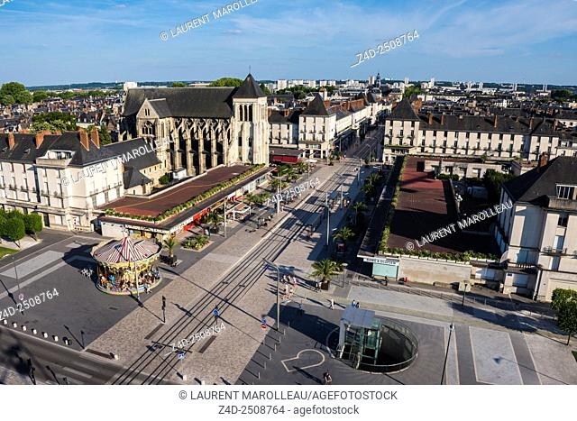 Anatole France Square and Nationale Street with Saint-Julien Church. Tours, Indre et Loire, Loire Valley, France, Europe