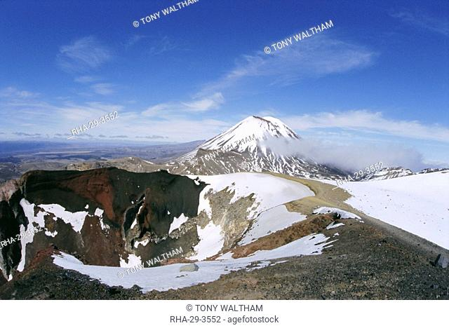 Mt Ngauruhoe volcano, beyond Red Crater, in the Tongariro National Park, Taupo, North Island, New Zealand