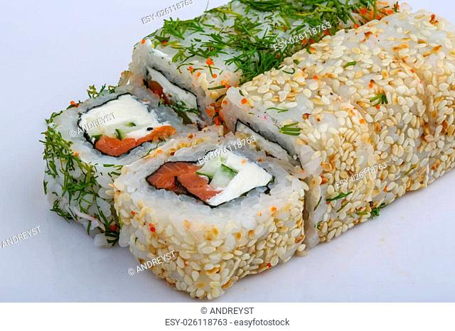 California roll - Japan traditional cusine with dill and sesame seeds