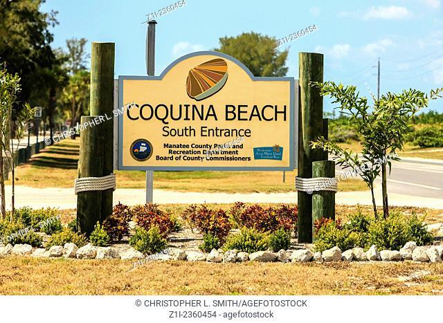 Anna Maria Island, FL, USA - August 27, 2014: Coquina Beach sign on Anna Maria Island in Bradenton FL