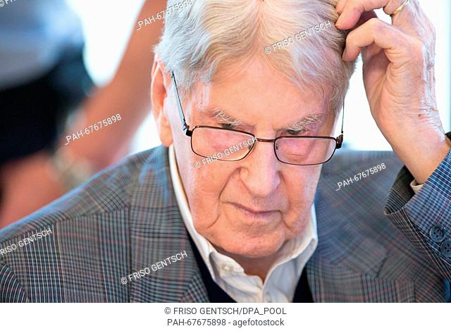 Defendant Reinhold Hanning attends another day of his trial in Detmold, Germany, 22 April 2016. The court was set up in the rooms of the Chamber of Industry and...