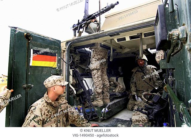 AFGHANISTAN, KUNDUZ, 15.06.2009, QRF, Quick Reaction Force, a german elite troop. QRF soldiers in tank in Chahar Darreh. - Kunduz, Kunduz, Afghanistan