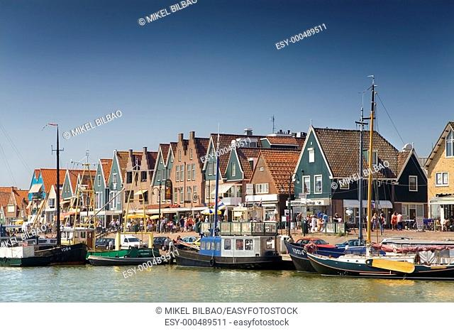 boats and houses in a Holland port.   Volendam, Waterland municipality , North Holland province, Holland, Netherlands, Europe