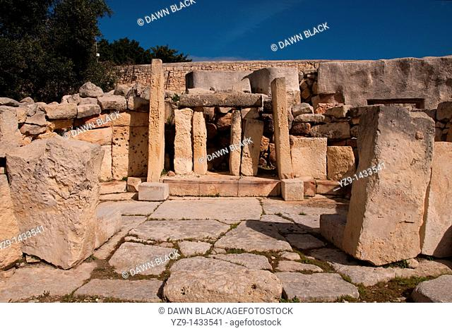 Central area of the neolithic Tarxien Temple complex, Tarxien, Malta