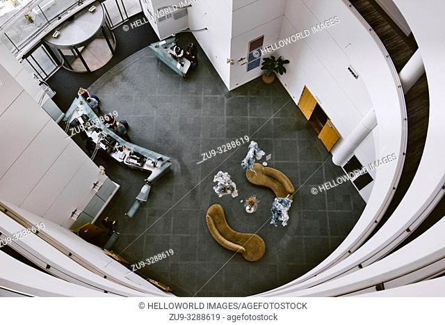 St David's Hotel high angle view of the atrium and lobby, Cardiff Bay, Cardiff, Wales, United Kingdom
