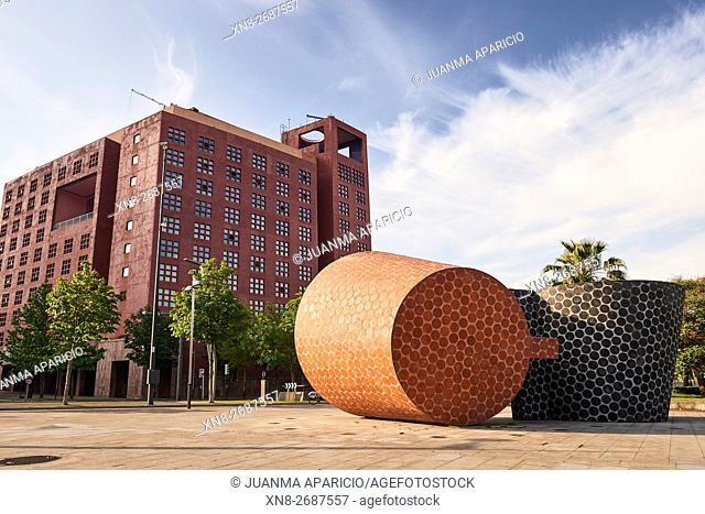 Sculpture â. œSitios y Lugaresâ. . by ANGEL GARRAZA, Parque de La Rivera, Bilbao, Biscay, Basque Country, Euskadi, Spain, Europe