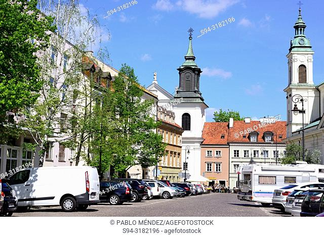 Towers of a churches in Dluga street, Warsaw, Poland