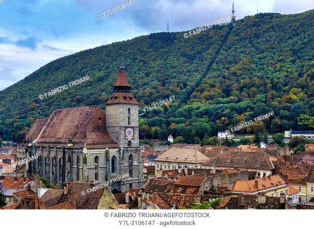 View of the Biserica Neagra (the black church) with Mount Tampa in the background; Brasov; Romania