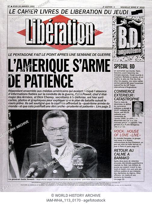 Headline in 'Liberation' a French newspaper, 24th February 1991, during the Gulf War (2 August 1990 - 28 February 1991). codenamed Operation Desert Shield and...