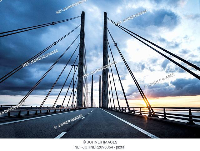 Cable bridge at sunset
