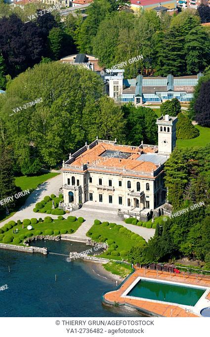Italy, Lombardy, Como lake, Cernobbio, villa Erba (aerial view)