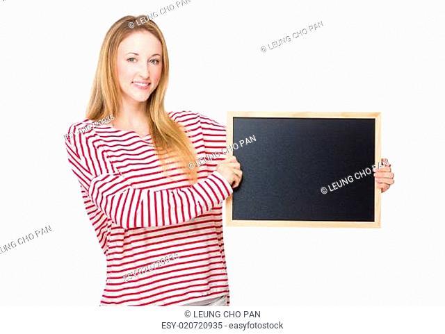 Caucasian Woman with chalkboard