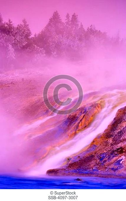 Steam emerging from a river, Firehole River, Yellowstone National Park, Wyoming, USA