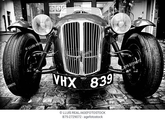 Frazer Nash vintage sports car, front view. London, England