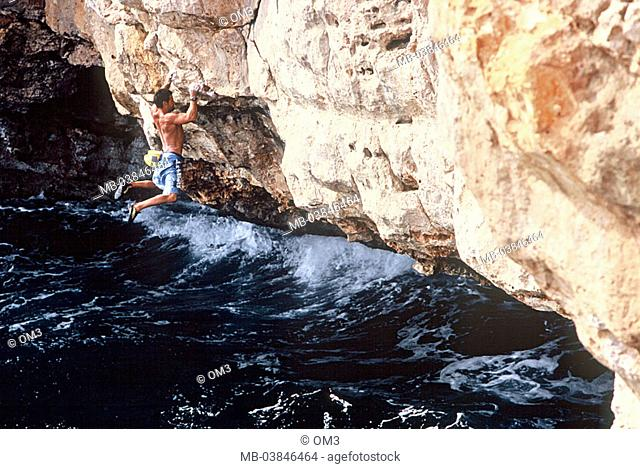 Climbers heed Miguel Riera, pro-climbers, personality-rights, Spain, island rock-coast Majorca, at the side, sea, series, Balearen, Mediterranean, surf, waves