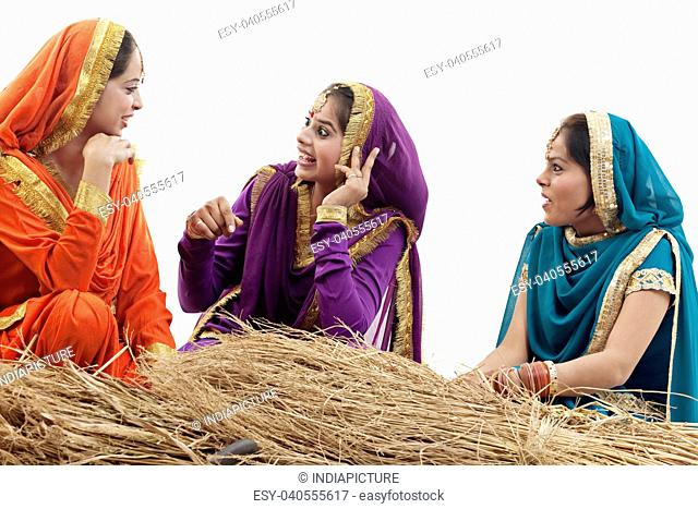 Sikh women talking to each other
