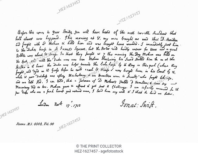 Extract from Jonathan Dean Swift's journal, addressed to Mrs Dingley, 1712, (1840). The letter contains an account of the duel between the Duke of Hamilton and...