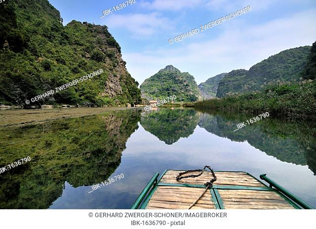 Near Ninh Binh, on the way along the river to the caves of Trung Anh, dry Halong Bay, Vietnam, Southeast Asia