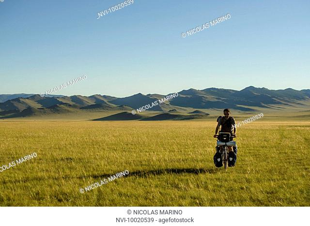 Cycling in the Mongolian steppe, Mongolia