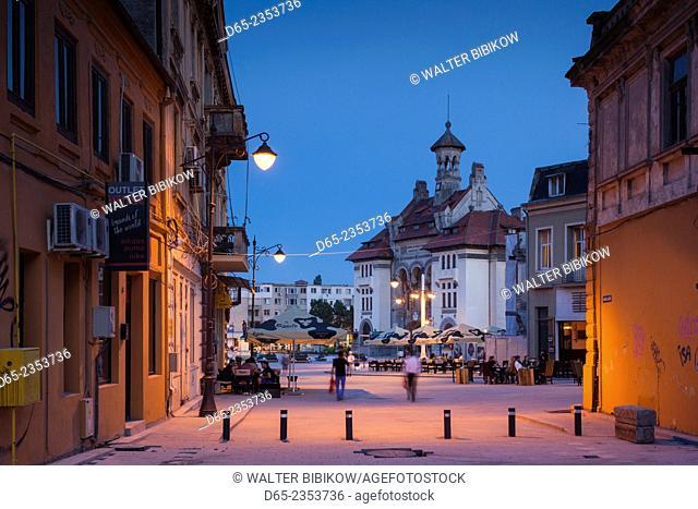Romania, Black Sea Coast, Constanta, Piata Ovidiu, Ovid Square, National History and Archeological Museum, dusk
